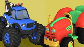 Truck Trolley, tractor toy   Construction Vehicles for Kids   Bull Dozer, Road Roller - toy unboxing