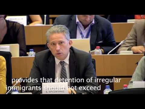 Kostas Chrysogonos asking Dimitris Avramopoulos about illegal detention of immigrants in Greece