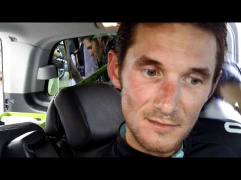 Frank Schleck talks after stage 14 of the Tour de France