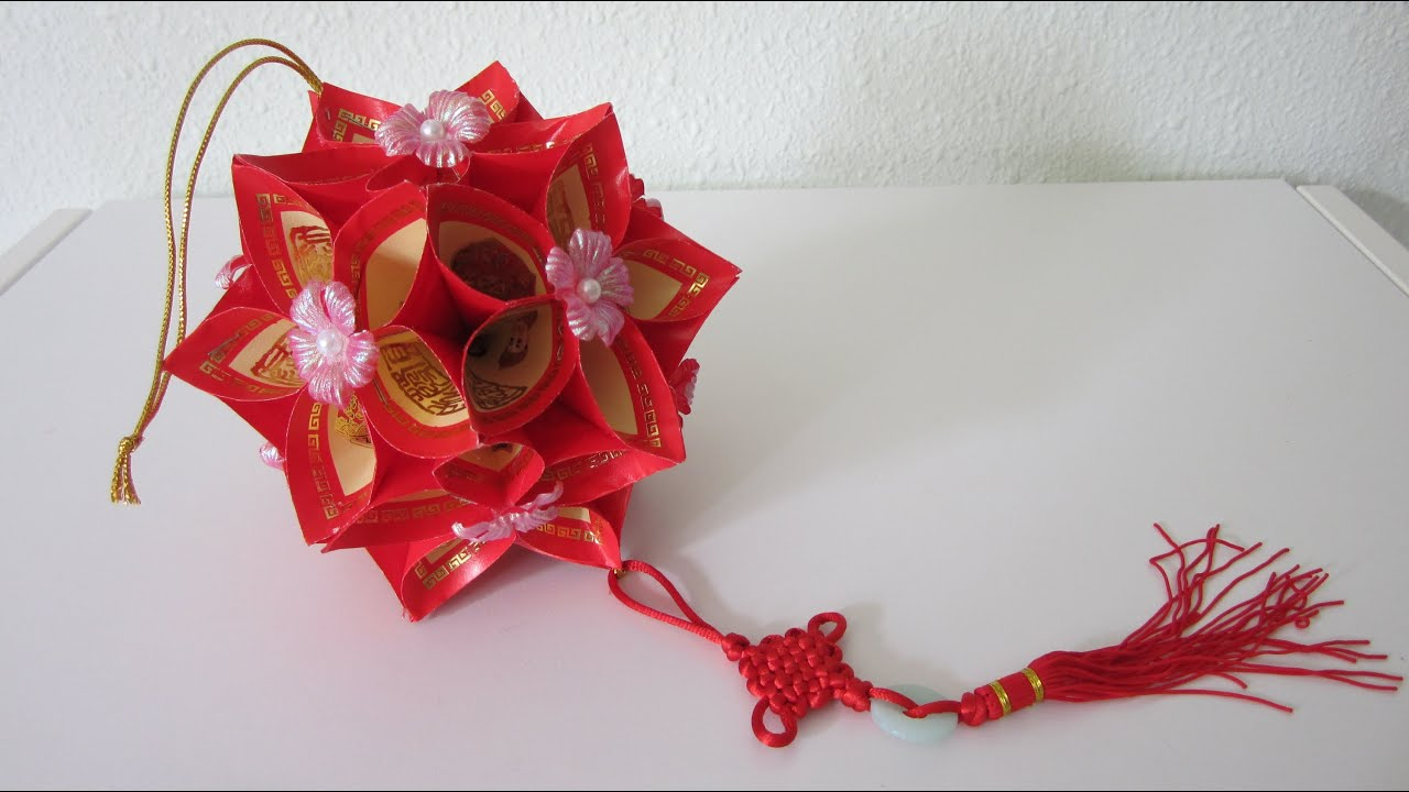 Tutorial how to make a decorative flower ball using ang for Ang pow koi fish tutorial