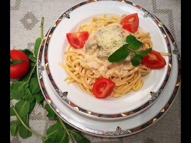 Спагетти в сливочном соусе / Pasta with meat