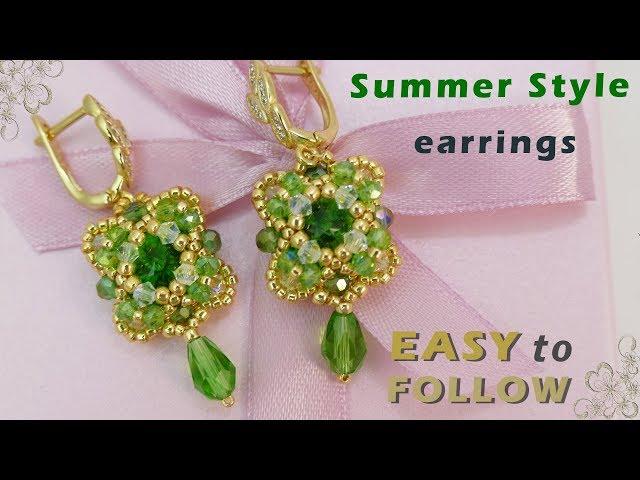 Earrings with 10 mm rivolis Beading tutorial