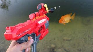MEGA NERF Blaster FISHING ROD Catches JAWS FOOD!!