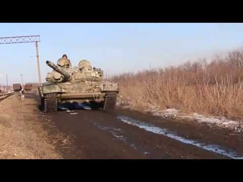 Novrossii army tanks and troops pull together in Debaltseve 15 02 2015.Ukraine War,News Today!