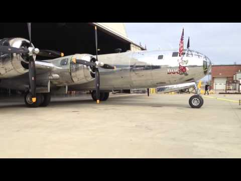 Rollout Of B-29 Bomber 'Doc' at Kansas Aviation Museum