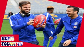 Chelsea news: Cesc Fabregas and Pedro try out Aussie rules football on pre-season tour