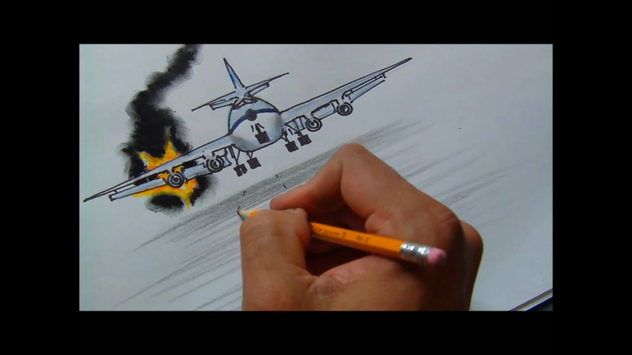Home Plane Drawing How to Draw a Burning Plane