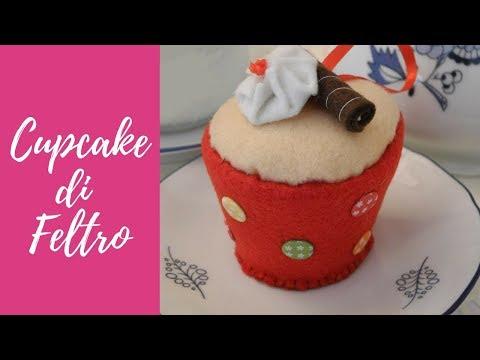Tutorial: Cupcake in feltro e pannolenci (felt cupcake) [eng-sub]