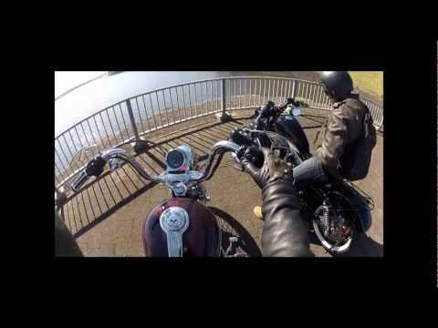 HD GOPRO  Harley davidson Sportsters drag race. 1200 custom Vs 48!!!