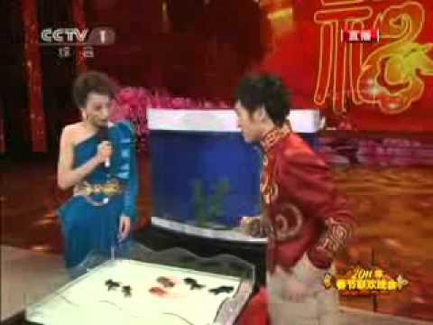 Mago chino domando peces en una pecera....Impresionante