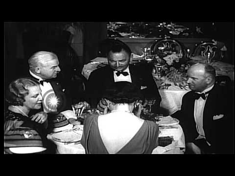 Guests celebrate New Year's eve at a hotel in Havana, Cuba, in 1936. HD Stock Footage