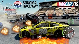 Nascar 15 Victory Edition: Sonoma Raceway Extreme Longer Crash Compilation