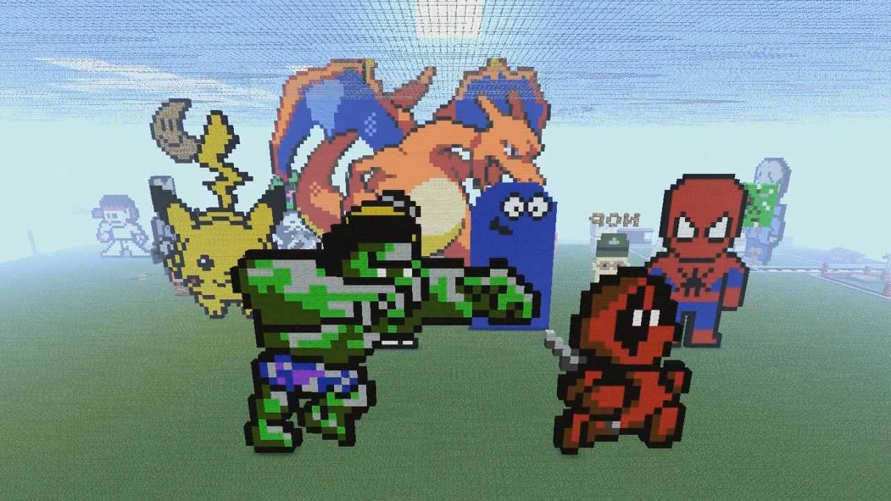 Deadpool Pixel Art Minecraft Pixel Art Hulk vs