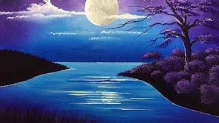 acrylic moon over lake