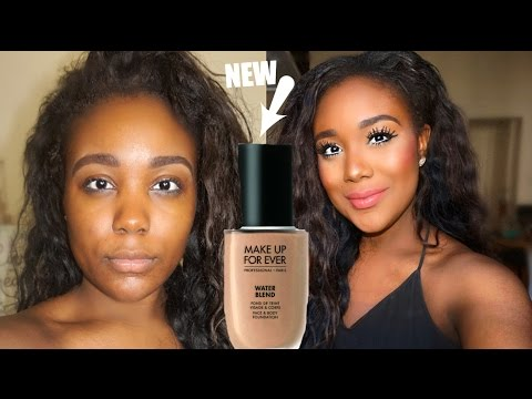 Summer Foundation Routine I NEW MAKEUP FOR EVER WATERBLEND Review + Demo Dark Skin