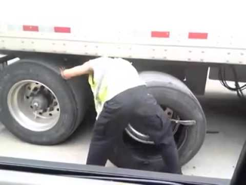 Fastest big rig tire   and he does it by hand