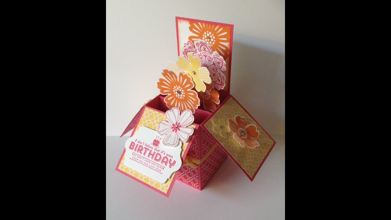 3D Folding Box Card With Giftcard Insert Using Stampin Up