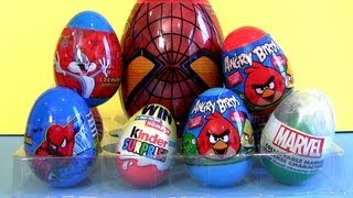 Spiderman Toy Surprise Kinder Bugs Bunny, Angry Birds Marvel The Avengers Huevos Sorpresa