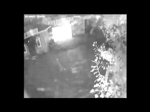 Момент падения кассет ракеты Точка-У 22.08.2014 в г. Ровеньки, Украина