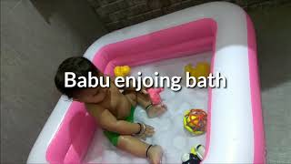 Funny baby#vivan enjoying bath