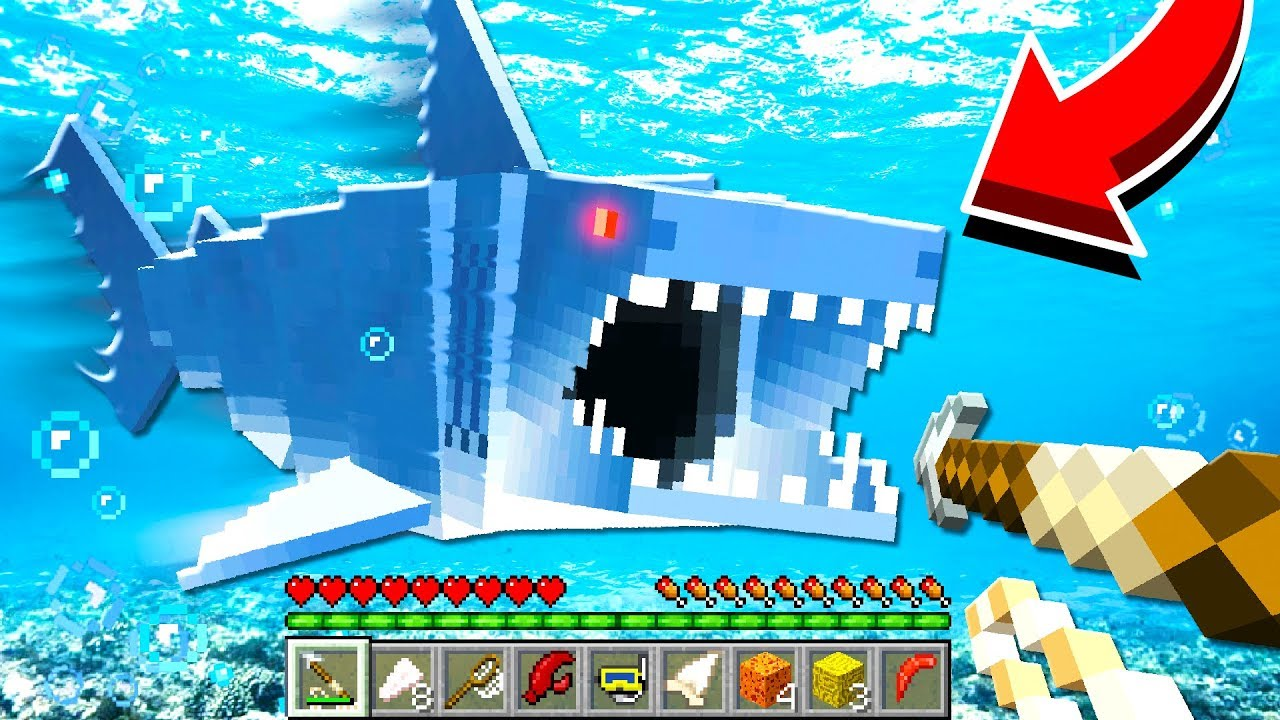 TERRIFYING JAWS SHARK MINECRAFT MOD!