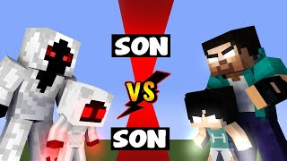 SON VS SON - WHO IS THE STRONGEST, HEROBRINE SON OR ENTITY SON PLUS MONSTER SCHOOL