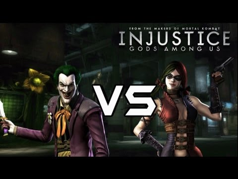 Injustice Gods Among Us - The Joker Vs Harley Quinn with Lore & Arkham Skins!
