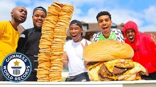 Who Can Make The BIGGEST FOOD Challenge (GIANT BURGER)