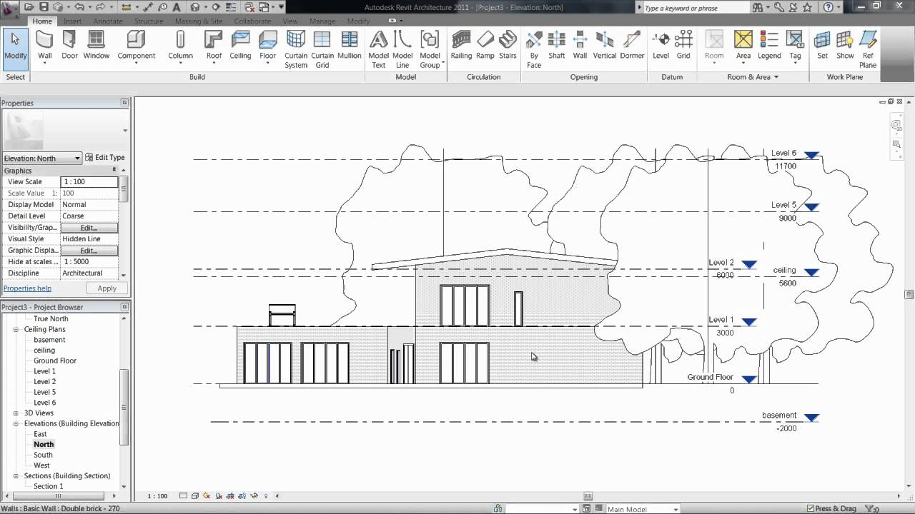 5 1 views levels floor plans revit architecture for Revit architecture modern house design 1