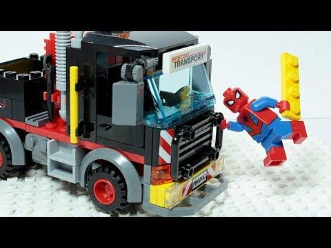 Lego SPIDER MAN Brick Building TRUCK Superhero Animation for Kids