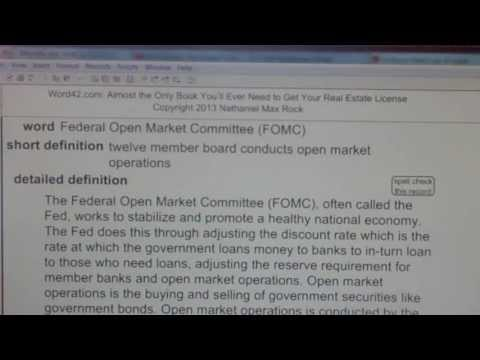 Federal Open Market Committee (FOMC) Real Estate Exam Top Words REE42.com
