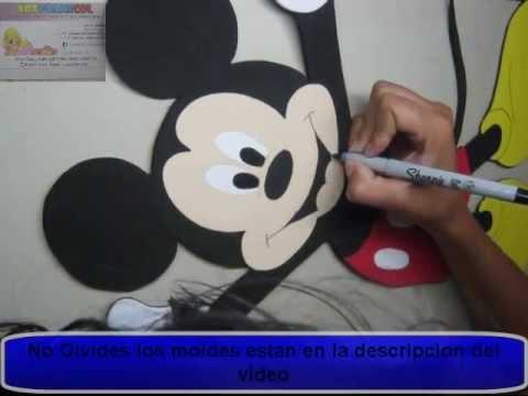 Como Hacer Mickey Mouse De Disney Apliques En Foamy o GomaEva con Moldes