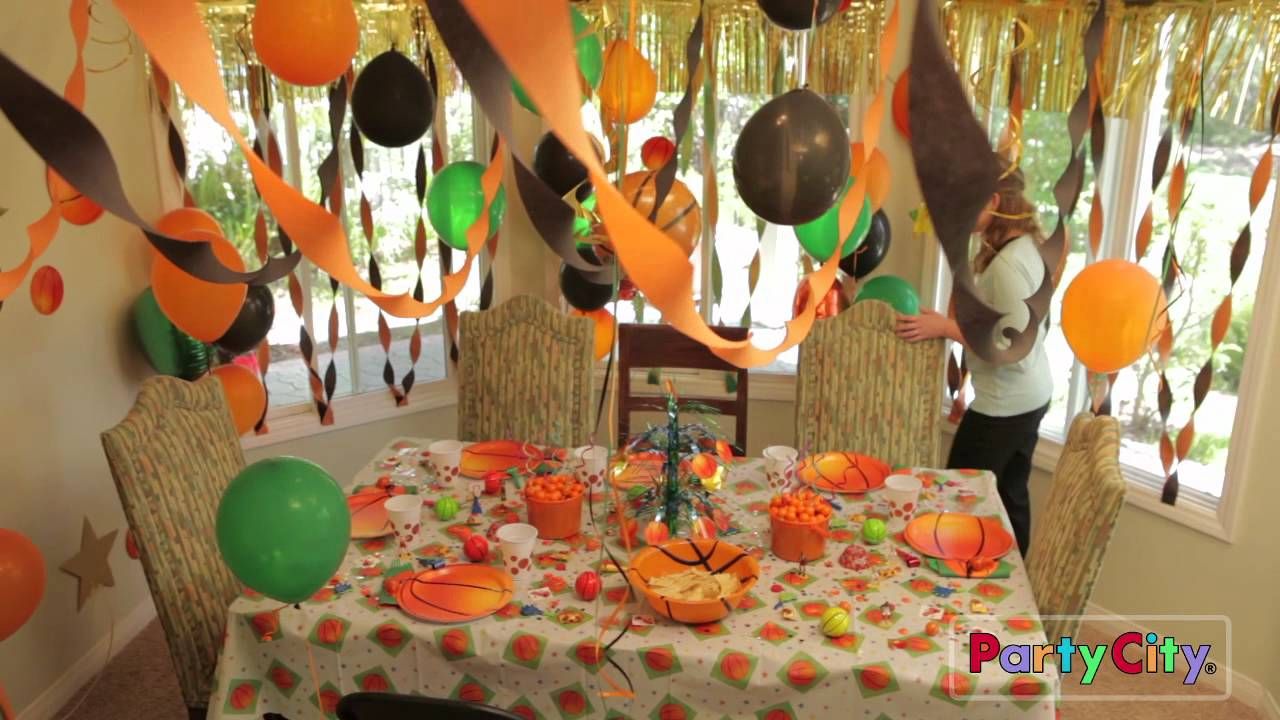 Basketball theme birthday party ideas youtube for R b party decorations