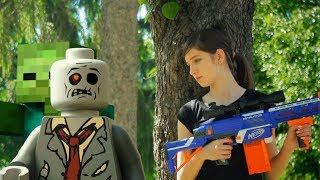 NERF WAR: NERF SNIPER GIRL VS REAL LIFE LEGO AND MINECRAFT ZOMBIE INVASION