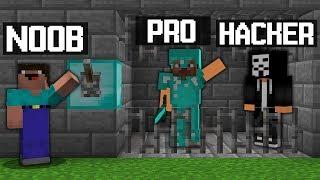 Minecraft Battle: NOOB vs PRO vs HACKER: PRISON JAILBREAK CHALLENGE in minecraft / Animation