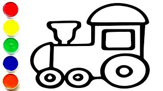Glitter  Train Coloring and Drawing for Kids, Toddlers   Learning Colors