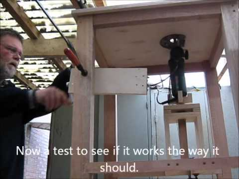 Homemade router table with router lift and split fence