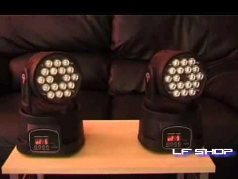 Mini Moving Head Wash - 18 Leds De 3w - 54 Watts - DMX - LF SHOP