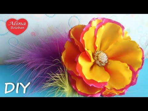 Простой цветок из атласной ленты мастер класс