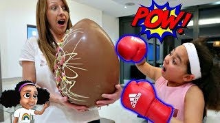 BOXING! Giant Chocolate Easter Surprise Egg Challenge - Sour Candy | Toys AndMe