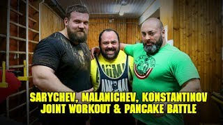 (Eng voice over) Sarychev, Malanichev, Konstantinov. Joint Workout & Pancake Battle