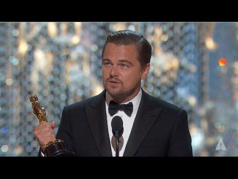 Leonardo DiCaprio winning Best Actor