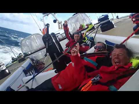 Action from on board Derry~Londonderry~Doire race toward the team's homeport during the Clipper Round the World Yacht Race. The crew race from New York, USA toward Derry-Londonderry in ...