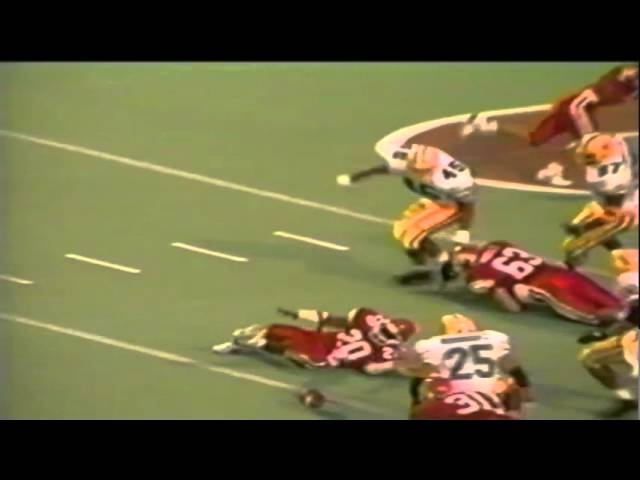 Oregon safety Paul Rodriguez tackle for loss near goal line vs. Utah 9-21-91