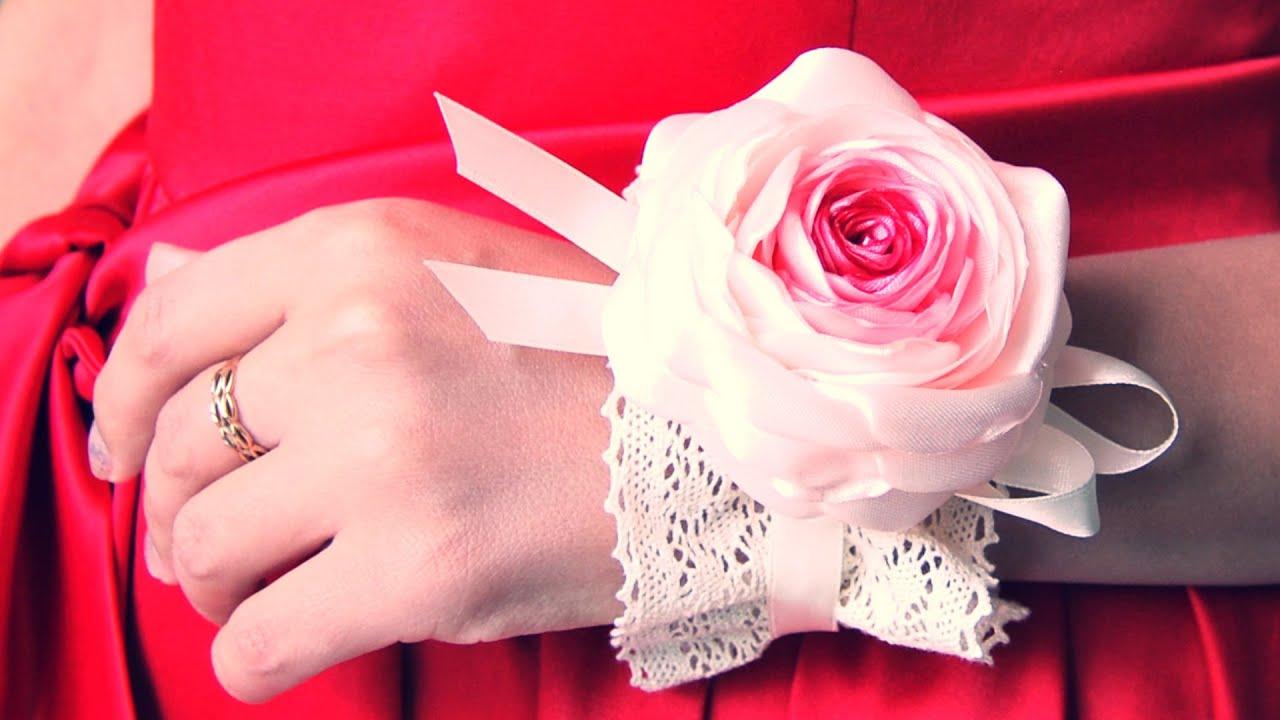 Мастер -класс. Цветок из лент на руку для подружек невесты