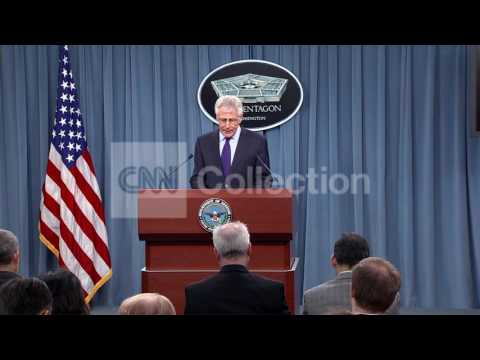 SECY HAGEL AT PENTAGON BRIEFING-WALK UP