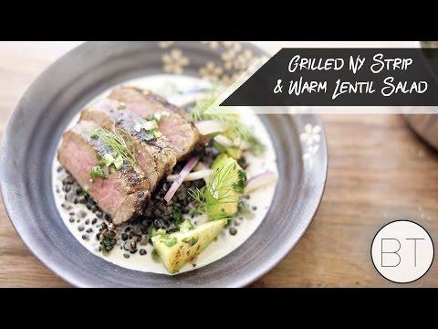 Grilled New York Strip & Warm Lentil Salad