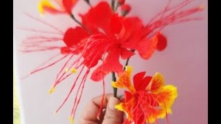 How to make Paper Flower Pride of Barbados \ Dwarf Poinciana (Flower # 37)
