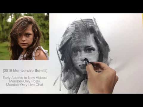 Impressionism Charcoal Drawing of a Girl