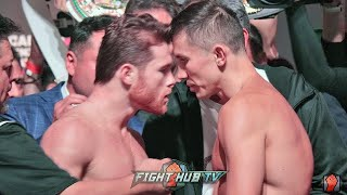 CANELO RUNS UP ON GOLOVKIN DURING WEIGH IN FACE OFF! BOTH GO NOSE TO NOSE IN HEATED WEIGH IN!